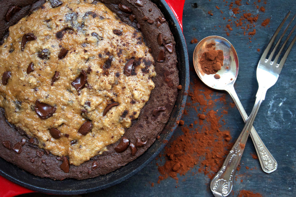 Healthy Cookie Brownie Skillet