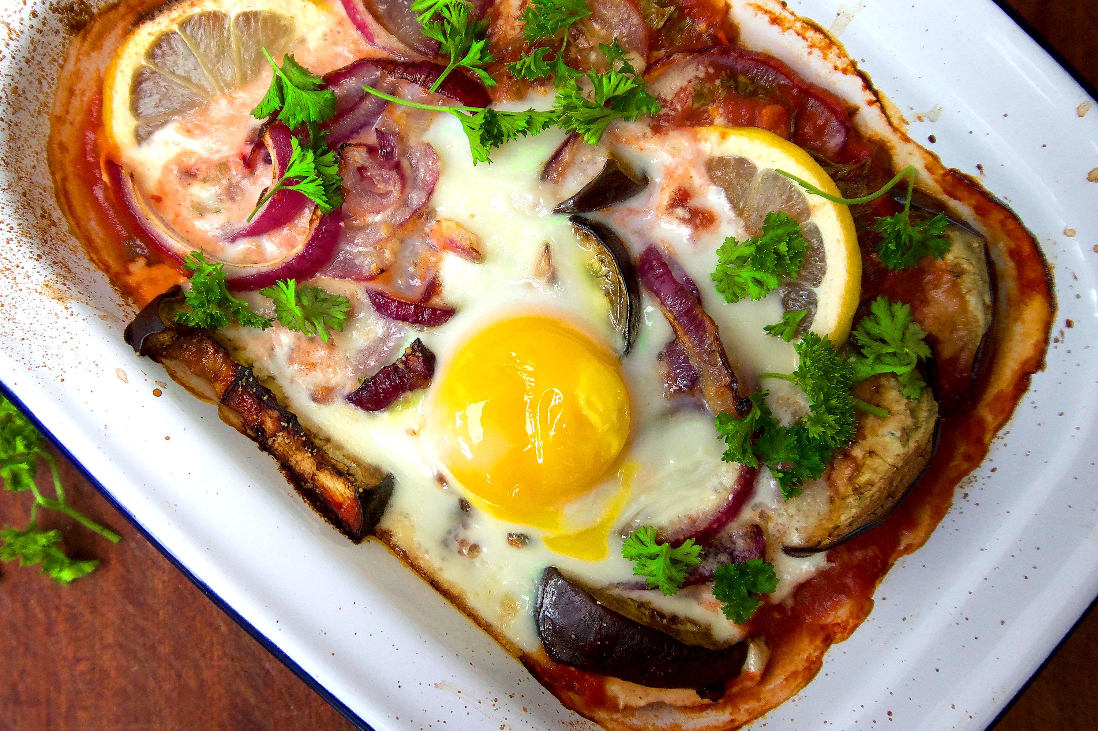 aubergine baked eggs