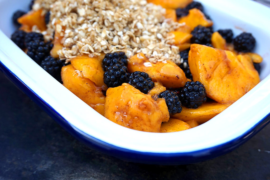 Healthy Mango And Blackberry Crumble