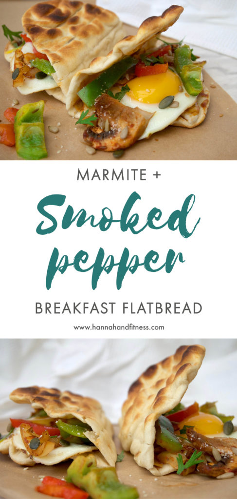 Marmite and smoked pepper breakfast flatbread. A healthy, nutritious and energy packed breakfast option to start your day right. Full of healthy fats, essential carbs and the perfect amount of flavour!
