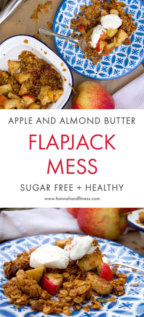 Apple and almond butter flapjack mess. A unique twist taken on the classic flapjack bars and turned into an eaton mess! This recipe is free from refined sugar, contains natural ingredients and is 100% healthy. A perfect autumn dessert!