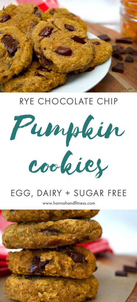 Rye chocolate chip pumpkin cookies. Egg, dairy and sugar free. The perfect autumn healthy autumn treat full of spice, pumpkin and all things nice!