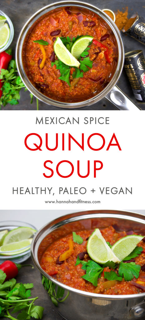 A healthy and comforting Mexican spice quinoa soup. Full of flavouring, Mexican ingredients and gut friendly spices. This dish is paleo, vegan friendly and can be made low or high carb! The perfect autumn dish for a weekday meal.