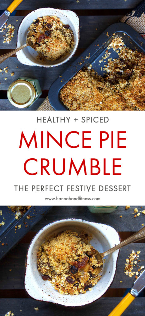 A twist on the classic mince pie and crumble recipe - a healthy mince pie crumble. Full of delicious festive spice and made with healthy ingredients which makes it free from refined sugar. Enjoy!