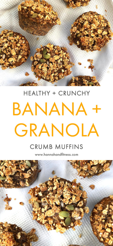 These crunchy banana and granola crumb muffins are refined sugar free and low in fat. They make the perfect breakfast choice or a healthy snack throughout the day. They're moist, sweet and crunchy on top. All you need is 30 minutes!