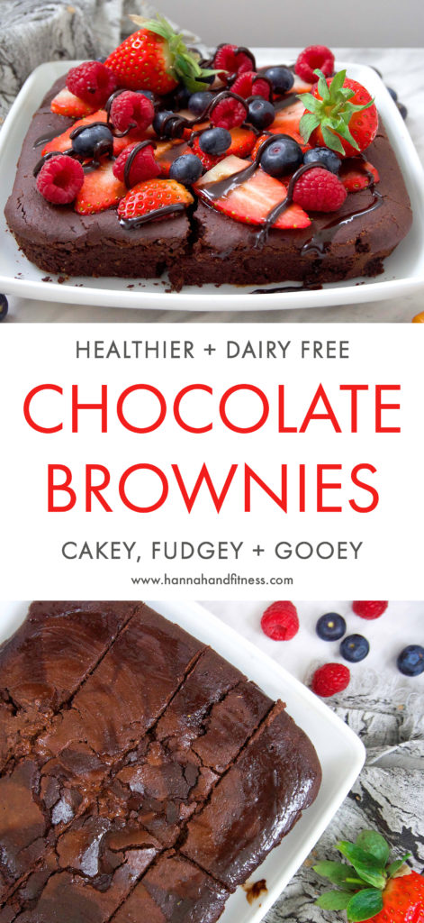 Cakey, fudgey and gooey chocolate brownie that are healthier, dairy free and butter free! The perfect healthy valentines treat this for this year.